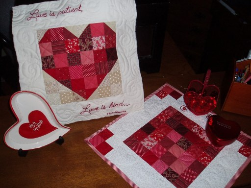 Pieced Heart Pillow & Valentine Table Topper