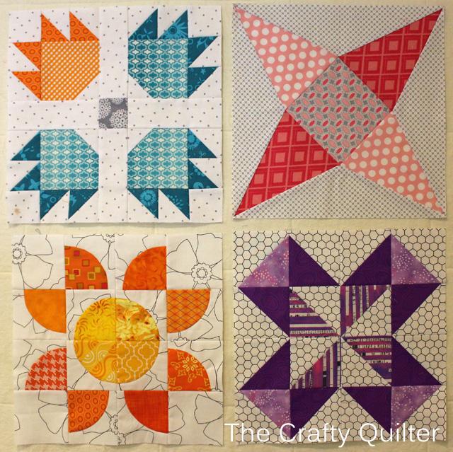 Blocks 1 thru 4 of Classic Meets Modern QAL, by Julie Cefalu