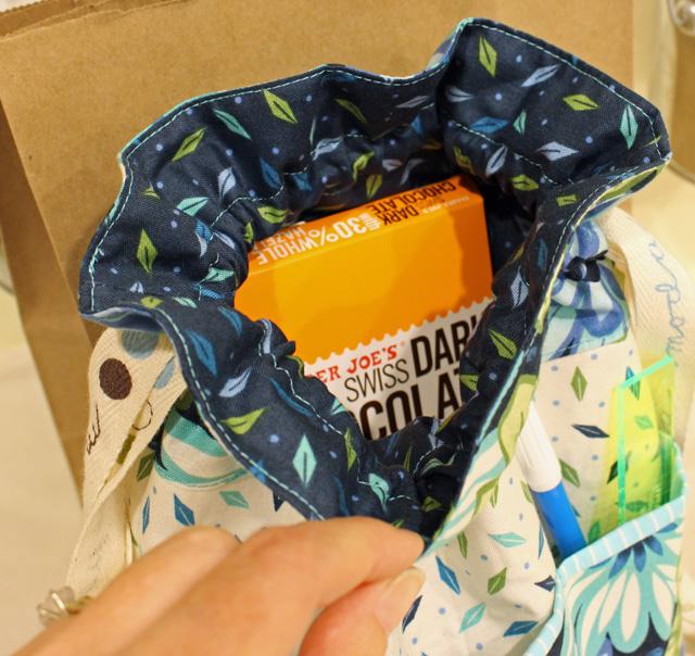 drawstring bag inside