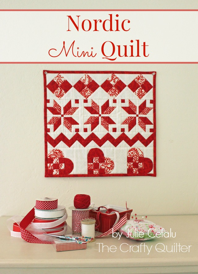 """Nordic Mini Quilt by Julie Cefalu, finishes at 14 1/2"""" square.  Free tutorial @ The Crafty Quilter."""