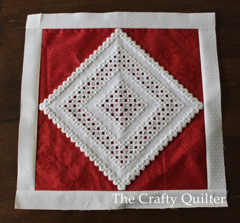 Hardanger Embroidery on quilt block @ The Crafty Quilter