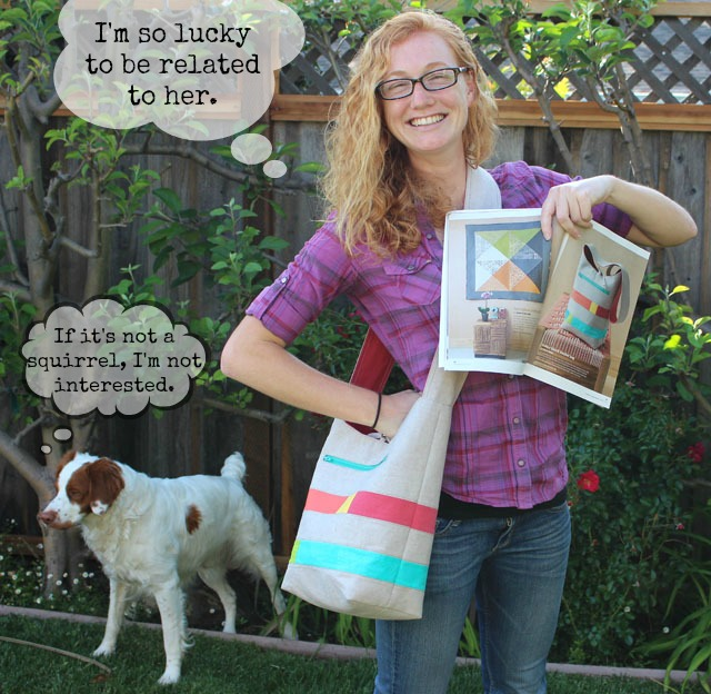 Color Block Bucket Bag by Julie Cefalu, in Modern Patchwork Magazine. Modeled by Nicole Cefalu