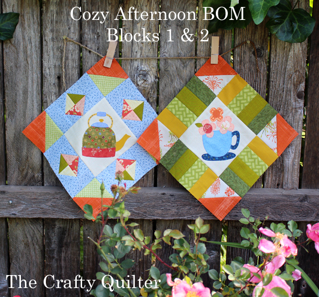 Cozy Afternoon BOM, blocks 1 and 2, made by Julie Cefalu