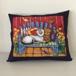 porch cats pillow