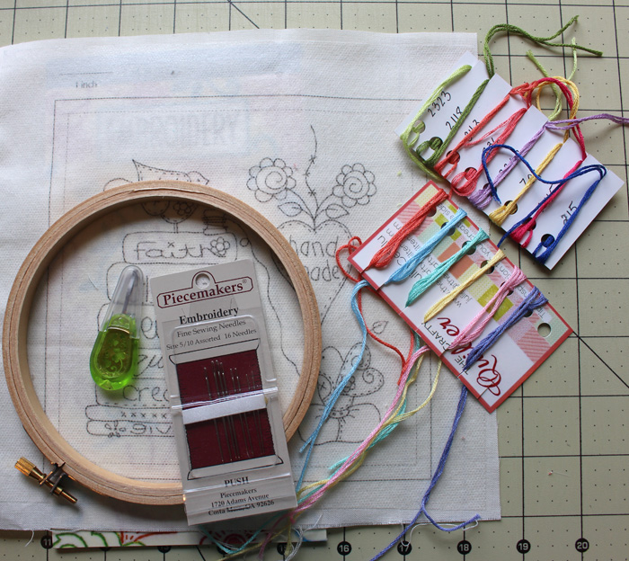 Embroidery project using business cards to hold and organize embroidery floss @ The Crafty Quilter