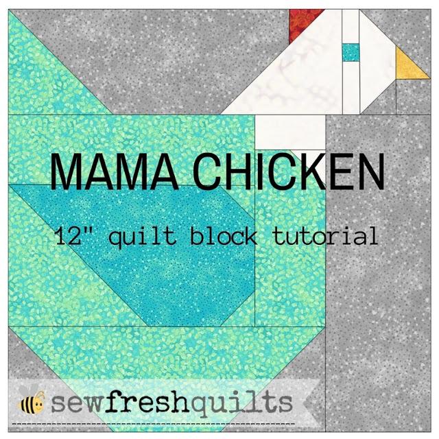 MAMA CHICKEN 12- QUILT BLOCK