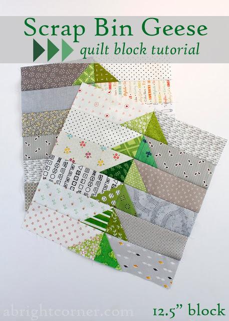 Scrap Bin Quilt Block Tutorial by Amy at A Bright Corner