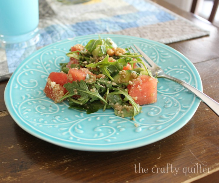 Watermelon Quinoa Salad @ The Crafty Quilter - The perfect sweet and savory salad for your summer picnic!