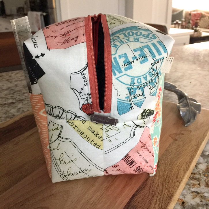 Friday Finish:  Boxy Pocky Pouch made by Julie Cefalu.  Pattern from the book, Stitched Sewing Organizers by Aneela Hoey