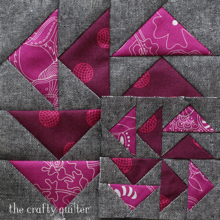 6 1/2″ block and 3 1/2″ block made by Julie Cefalu, designed by Cheryl Brickey for the Quilter's Planner