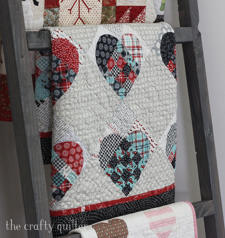 Woven Heart Quilt designed and made by Julie Cefalu @ The Crafty Quilter