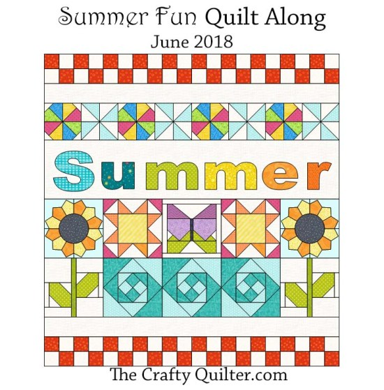 """The FREE Summer Fun Quilt Along starts June 1, 2018 at The Crafty Quilter.com This is a 30"""" x 32"""" wall hanging designed to add some sunshine to your space!"""