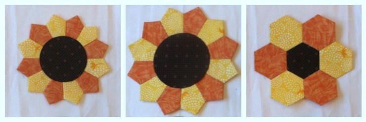 """The Summer Fun Quilt Along @ The Crafty Quilter creates a bright and happy wall hanging that measures 30"""" x 32"""". Week 3 instructions include several ways to make the sunflower block and the stem block."""