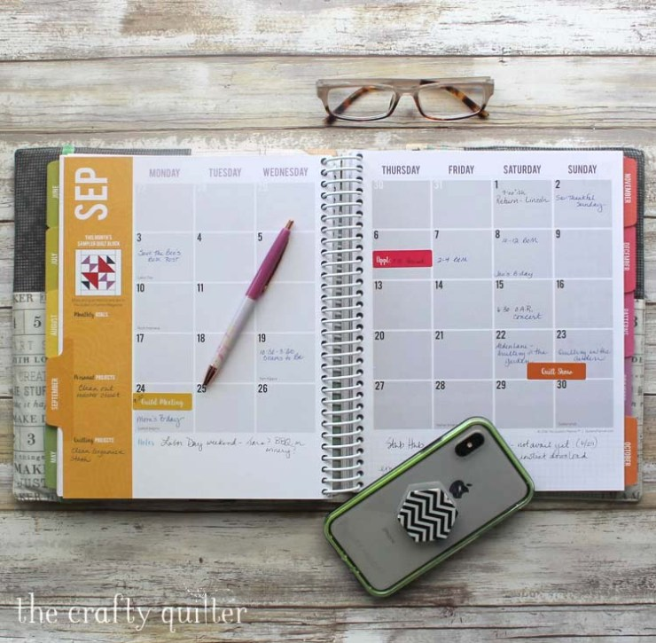 The Quilter's Planner from 2018 being used to keep life organized by The Crafty Quilter