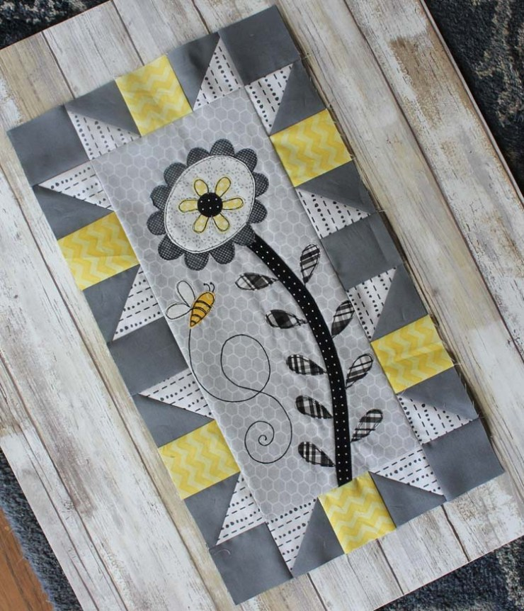 Save The Bees, block 1 designed by Jacquelynne Steves; made by Julie Cefalu @ The Crafty Quilter