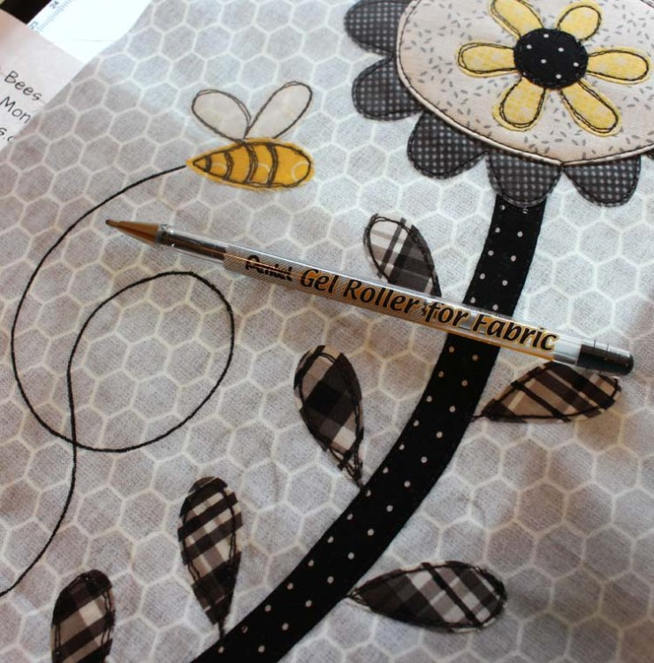 Save the Bees block made by Julie Cefalu @ The Crafty Quilter. Using a Pentel Gel Roller in place of hand embroidery.