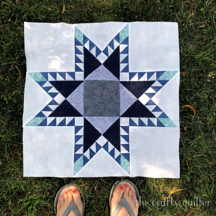 Feathered Star Quilt Block made by Julie Cefalu @ The Crafty Quilter.  Pattern from the Vintage Star Sampler BOM