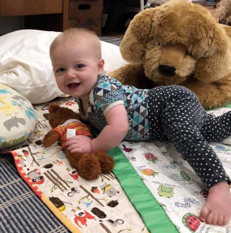 Baby Clara Cutbirth at 6 months old via The Crafty Quilter
