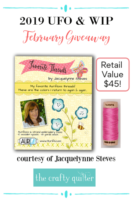 February UFO & WIP Challenge Giveaway prize @ The Crafty Quilter