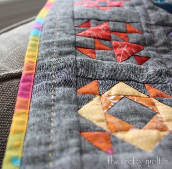 "Sew Happy Mini Quilt Tutorial (free) by Julie Cefalu @ The Crafty Quilter. Finished quilt size is 18 1/2"" x 17"" and the quilt blocks are 3""."