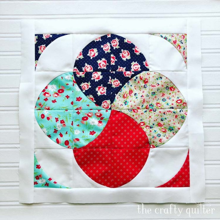 Curved Card Trick Block designed and made by Julie Cefalu @ The Crafty Quilter