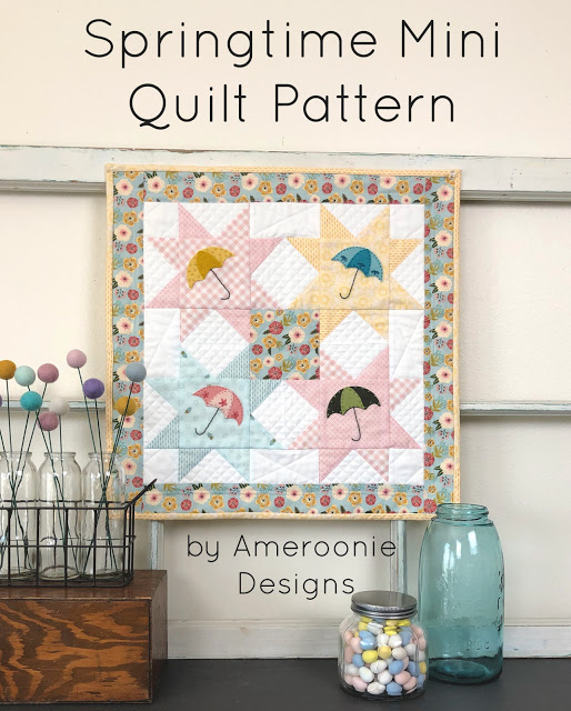 Springtime Mini Quilt Pattern by Amy at Ameroonie Designs; featured on Sew Thankful Sunday @ The Crafty Quilter
