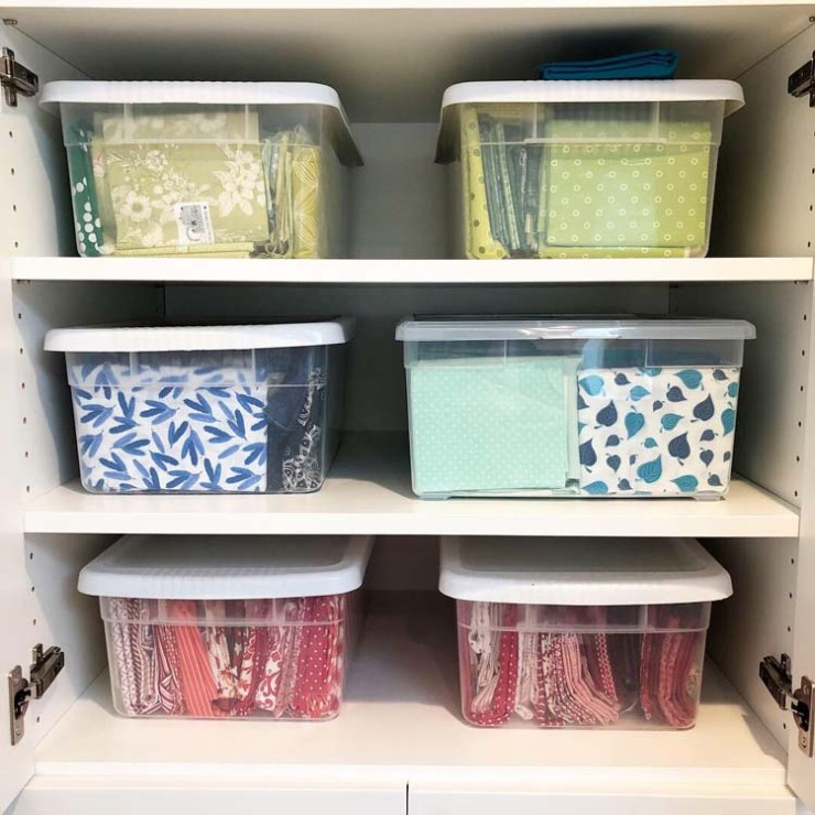 Fabric storage containers, old and new, @ The Crafty Quilter