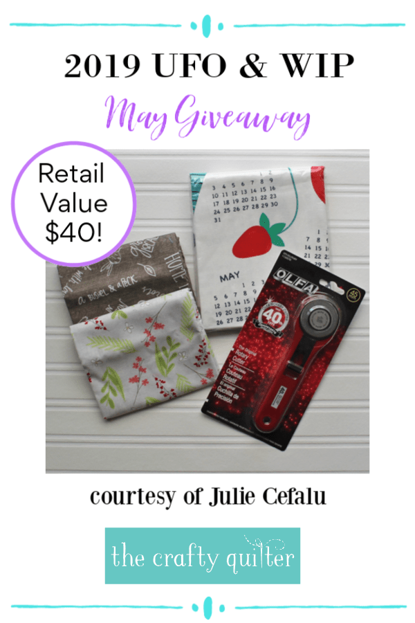 May UFO & WIP Challenge giveaway sponsor @ The Crafty Quilter