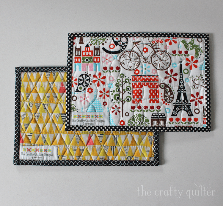 Black & white mug rugs made and designed by Julie Cefalu @ The Crafty Quilter