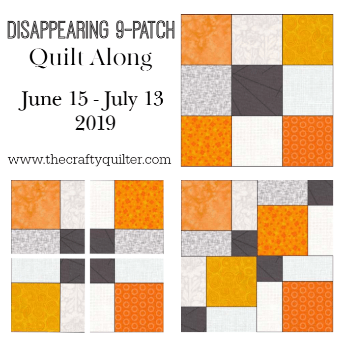Disappearing 9-patch QAL @ The Crafty Quilter.  Get a head start with the fabric requirements and think about the color placement for each block.