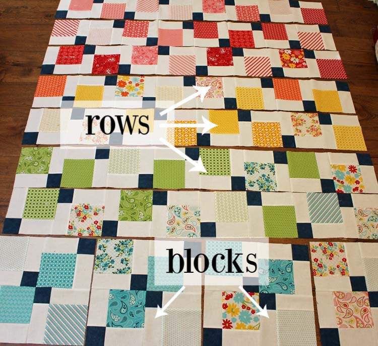 Disappearing 9-patch Quilt Along week 3 @ The Crafty Quilter is all about sewing our blocks together and different layout options.