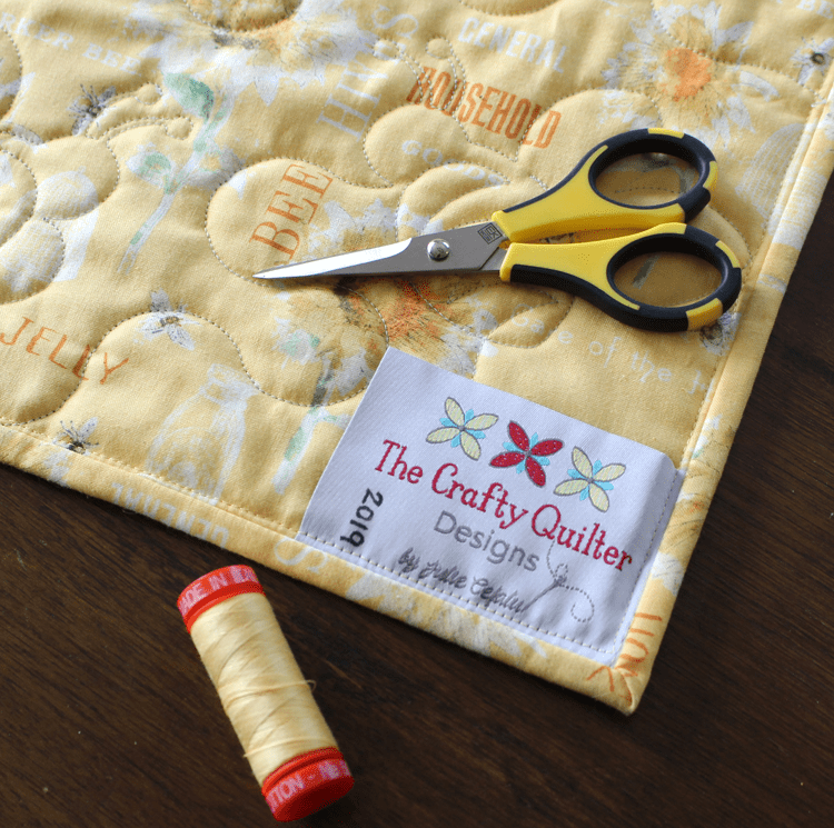 Perfect backing fabric and a quilt label to finish my Save The Bees Quilt