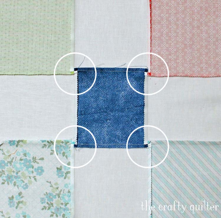 How to swirl seams for the disappearing 9-patch block @ The Crafty Quilter