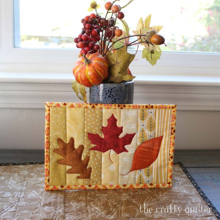 Fall mug rug made by Julie Cefalu @ The Crafty Quilter