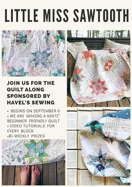 Little Miss Sawtooth Quilt Along by Melanie @ Southern Charm Quilts and featured on The Crafty Quilter's Sew Thankful Sunday.