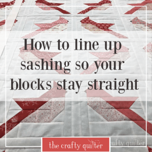Learn how to line up sashing so your blocks stay straight on your quilt!