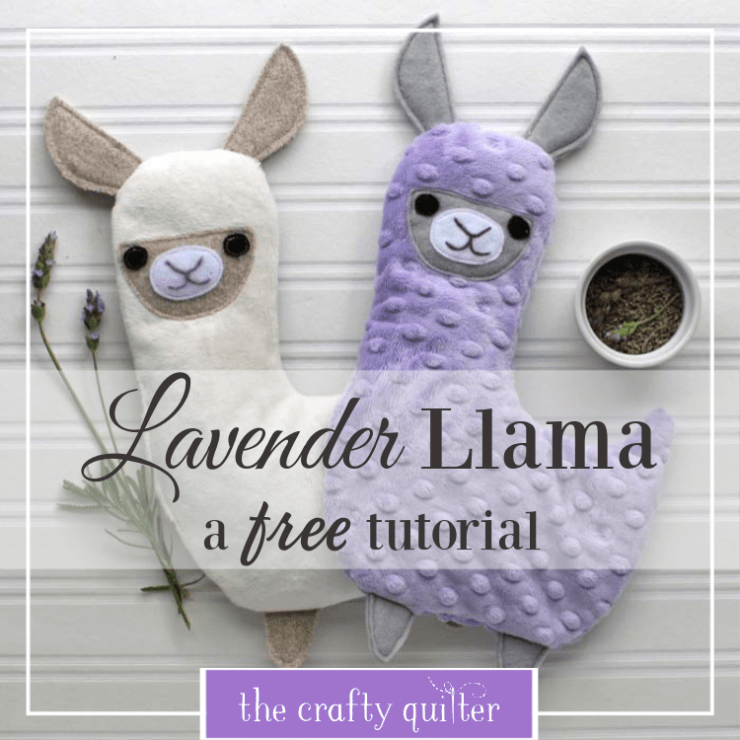 Lavender Llama tutorial from The Crafty Quilter.  This llama is filled with rice and dried lavender that you can microwave for warm comfort or freeze for cool relaxation.