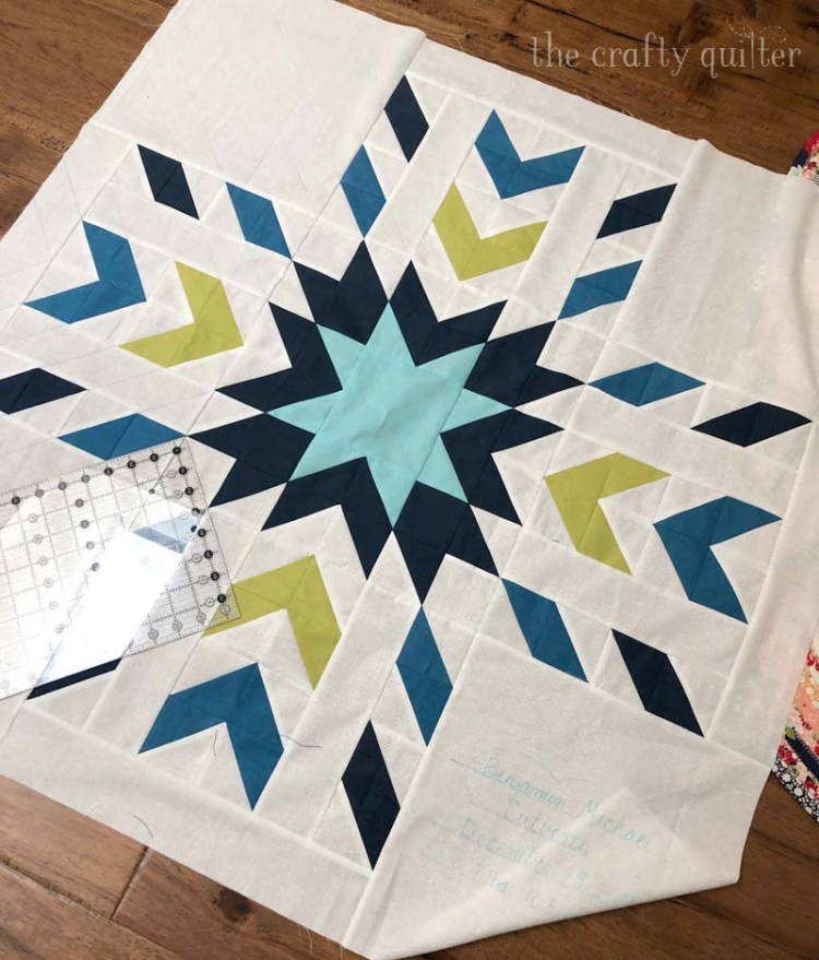 Baby Quilt for Benjamin made by Julie Cefalu @ The Crafty Quilter.  Pattern is Glacier by QLT Studio.