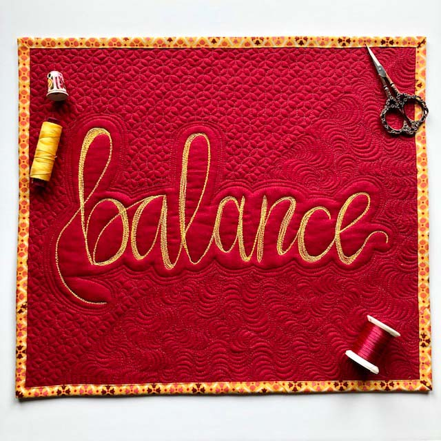 BALANCE Wall Hanging made and designed by Julie Cefalu @ The Crafty Quilter