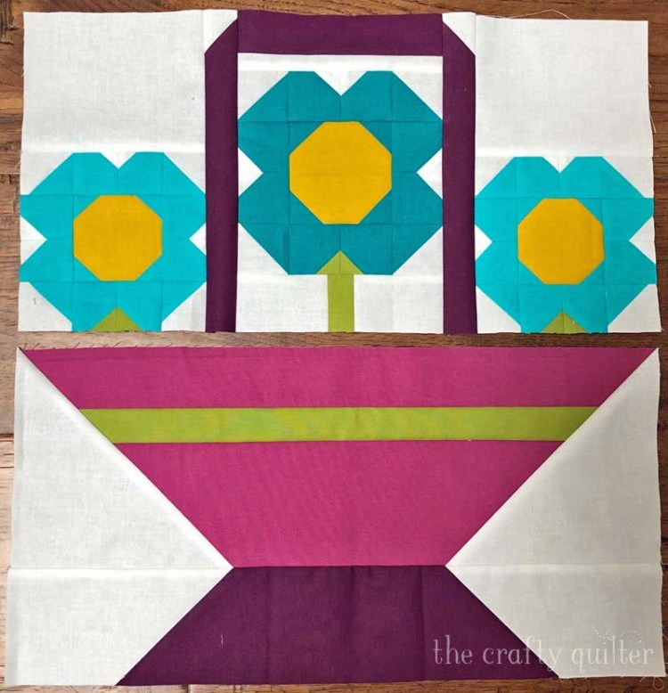 Basket of Blossoms  in the making by Julie Cefalu @ The Crafty Quilter.  Uses her free quilt block pattern too!