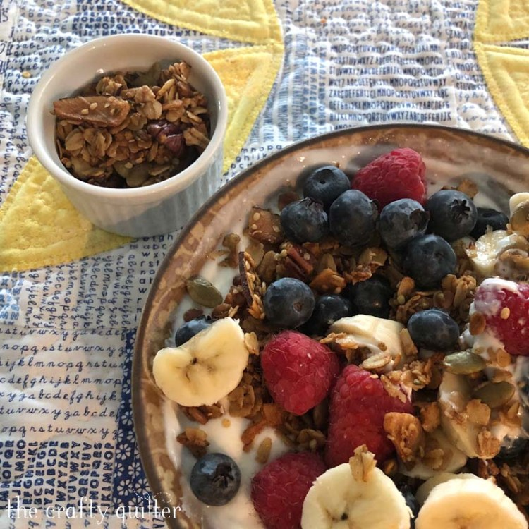 Projects and UFO's and cooking at The Crafty Quilter include my homemade Pecan Maple Granola.