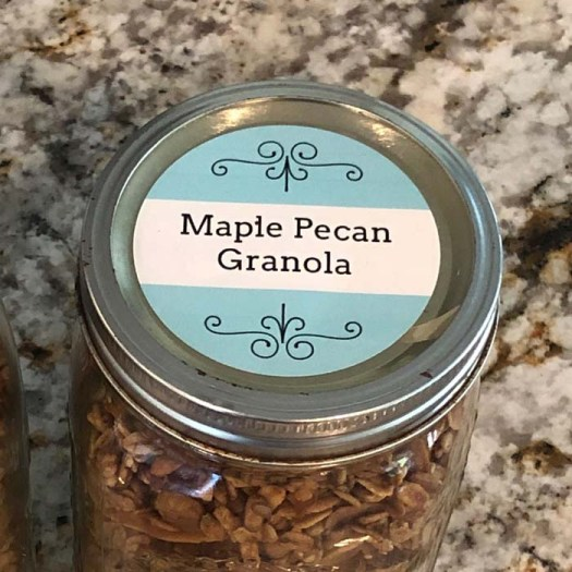 Maple Pecan Granola makes a great gift with a customized label!