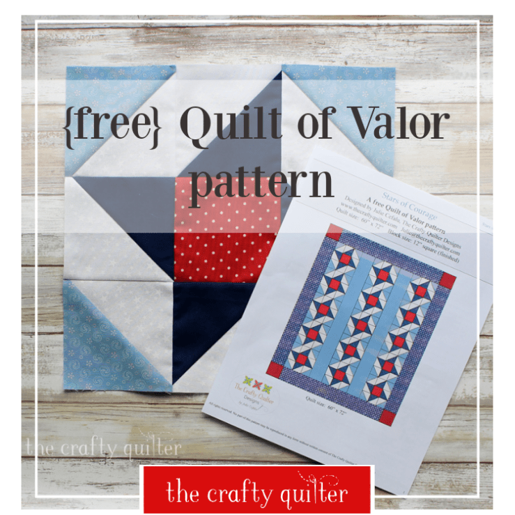 Stars of Courage is a FREE Quilt of Valor pattern designed by Julie Cefalu at The Crafty Quilter.