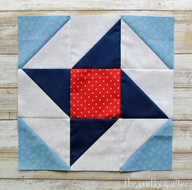 The Ribbon Star block is featured in the Stars of Courage quilt pattern by Julie Cefalu @ The Crafty Quilter