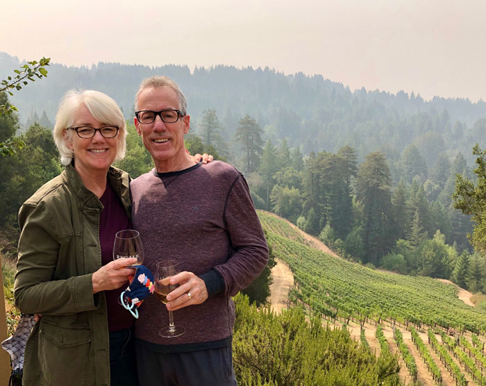 The Crafty Quilter and her husband at Regale Winery, Santa Cruz, California.