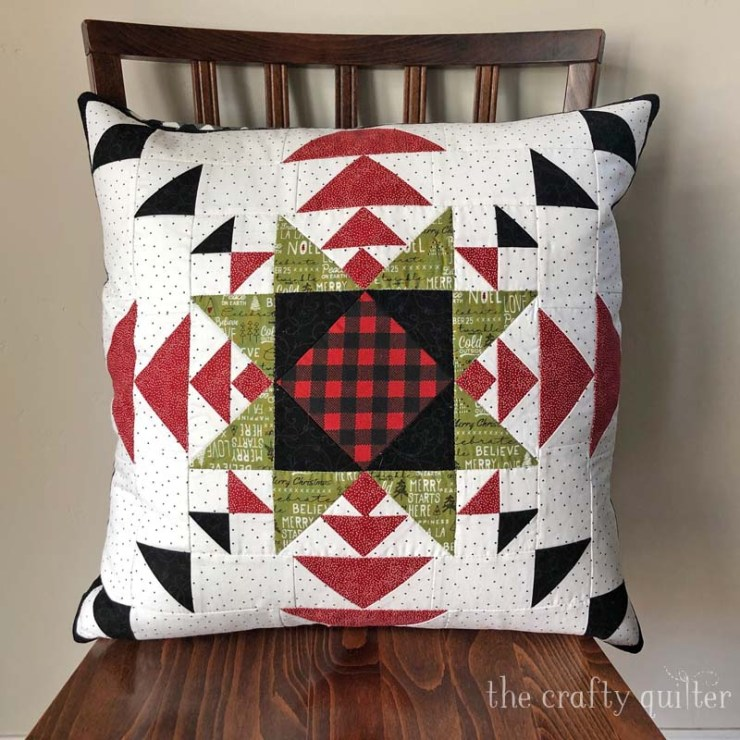 Lincoln Star pillow made by Julie Cefalu using her Lincoln Stars quilt pattern - @ The Crafty Quilter