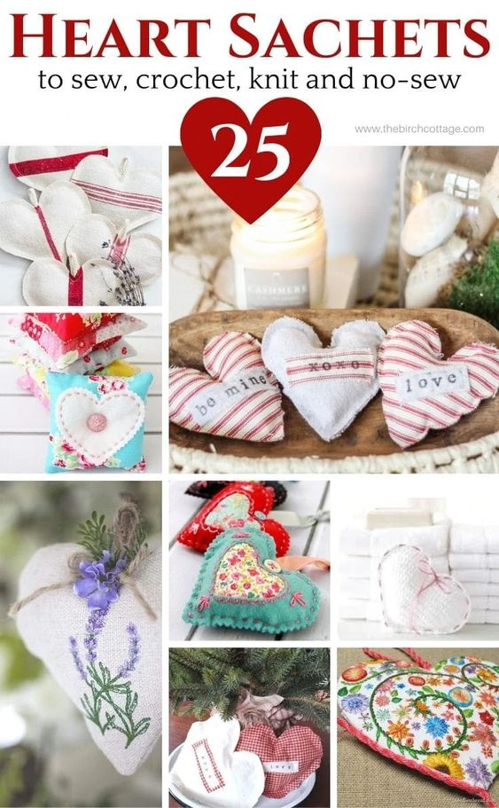 Heart Sachets, a round up of 25 to sew crochet, knit and no-sew @ Ideas for the Home.
