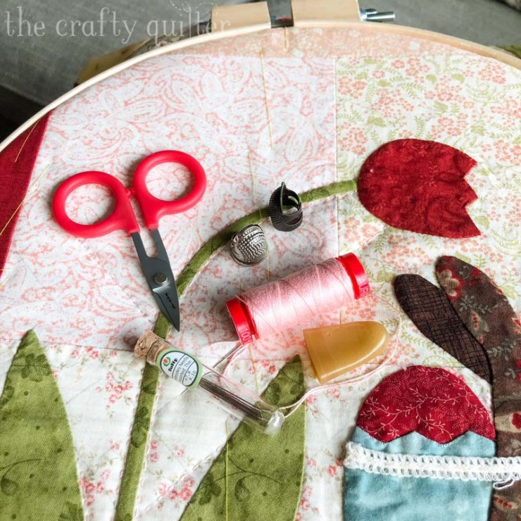 My favorite tools for hand quilting includes 12wt. Aurifil thread and Tulip size 9 embroidery needles