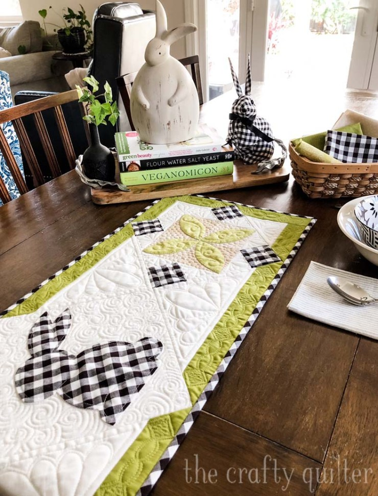 This Spring Bunny Table Runner is a free tutorial from Julie @ The Crafty Quilter.  Simple applique and two pieced blocks make this a cute and fast project for Spring and Easter!