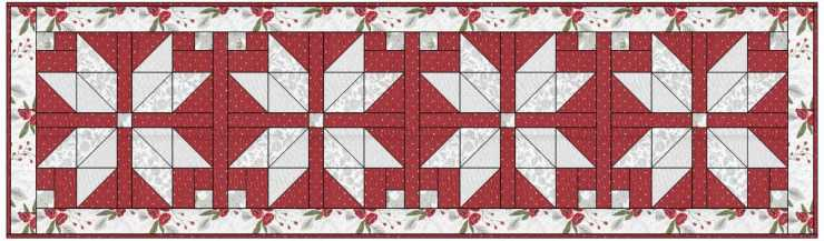 The Nordic Star Table Runner is a free pattern by Julie Cefalu @ The Crafty Quilter.  Shown with Christmas Morning fabric by Lella Boutique for Moda Fabrics.